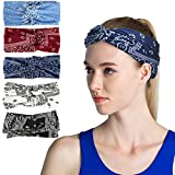 VBIGER 6 Pack Women Headband Criss Cross Head Wrap Hair Band Stretchy Headwraps Yoga Running Sports Hairband for Women (Set 6 (5 Pack))