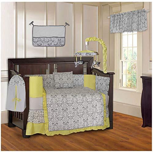 BabyFad Damask Yellow 10 Piece Baby Crib Bedding Set ()