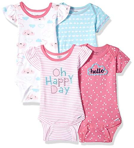 36937b46d50421 Amazon.com: Gerber Baby Girls' 4-Pack Short-Sleeve Onesies Bodysuit:  Clothing