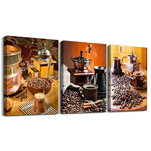Kitchen Canvas Art Warm Coffee Prints Wall Art Coffee Bean Cup Pictures Paintings for Dining Room Kitchen Bar Home Decorations 3Panels Large Modern Stretched and Framed Contemporary Food Artwork decor (Coffee Bean Picture)