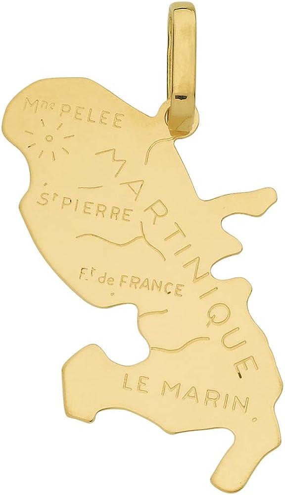 DIAMANTLY Pendentif carte Martinique or 18 carats