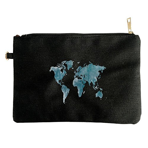 World Map Template Canvas Zipper Pouch Pencil Bag Cosmetic Bag Travel Organization - Sunglass Coupons World