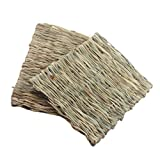 Emours Rabbits Natural Woven Grass Hay Mat for Small Animals Cages, 2 Pack