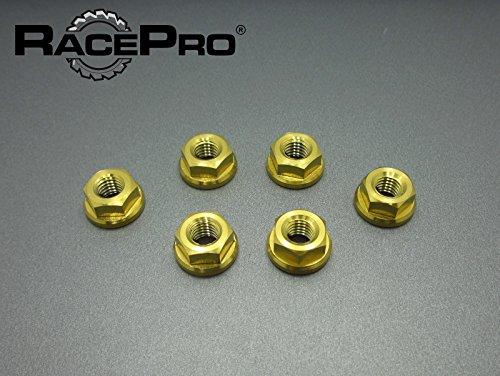 (RacePro - 6x Gold Suzuki GSX1300R Hayabusa 2005 Titanium Rear Sprocket Nuts)