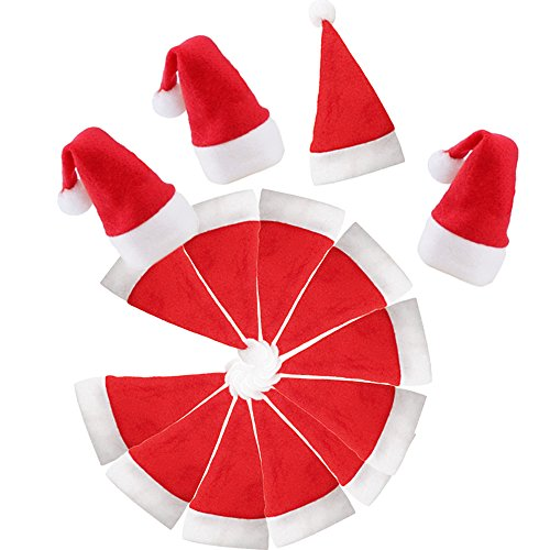 Mini Christmas Santa Hat White Red for Crafts Wine Bottle Decoration Silverware Holder Pockets Small Top Santa Clause Hat Tree Topper Holiday Party Supplies Dinner Table Décor 24Pack