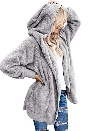 Zeagoo Women Casual Fuzzy Hooded Jacket Faux Fur Cardigan Coat with Pockets Grey, 1_grey, Small