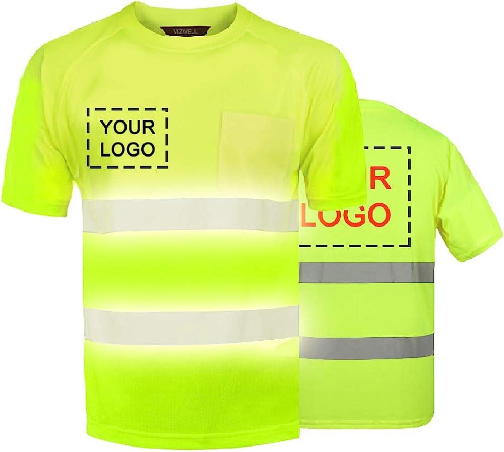 High Visibility Reflective Safety Work Shirts Custom Your Logo Hi Vis Outdoor Workwear Short Sleeve T-Shirt