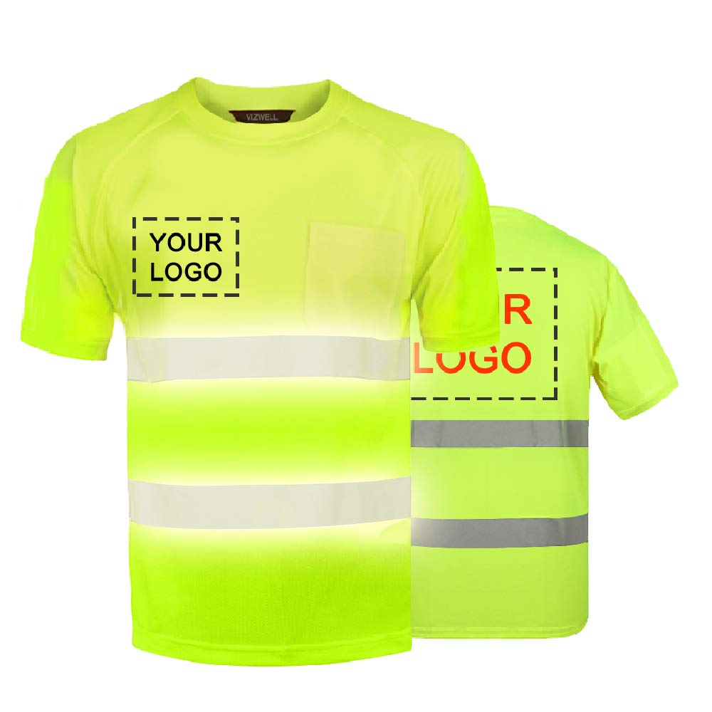High Visibility Reflective Safety Work Shirts Custom Your Logo Hi Vis Outdoor Workwear Short Sleeve T-Shirt (Neon Yellow (XL))