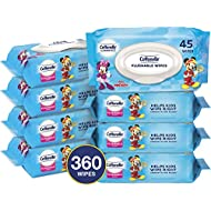 Cottonelle Flushable Toddler Wipes for Kids, 8 Flip-Top Packs, 360 Fragrance-Free Wet Wipes in Disney Packaging, Mickey Mouse