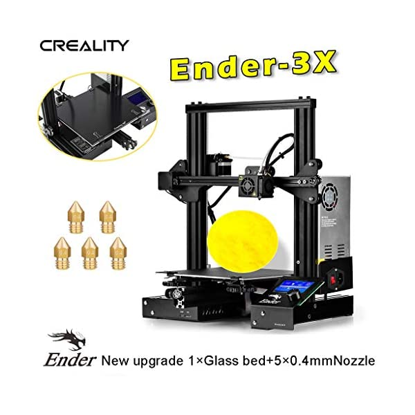 Creality Ender-3X 3D Printer Upgraded Version from Ender-3 with Tempered Glass 5PCS 0.4mm Nozzle Resume Printing Build Volume 8.7″ x 8.7″ x 9.8″