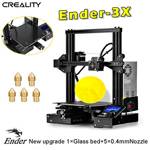 Creality Ender-3X 3D Printer Upgraded Version from Ender-3 with Tempered Glass 5PCS 0.4mm Nozzle Resume Printing Build Volume 8.7