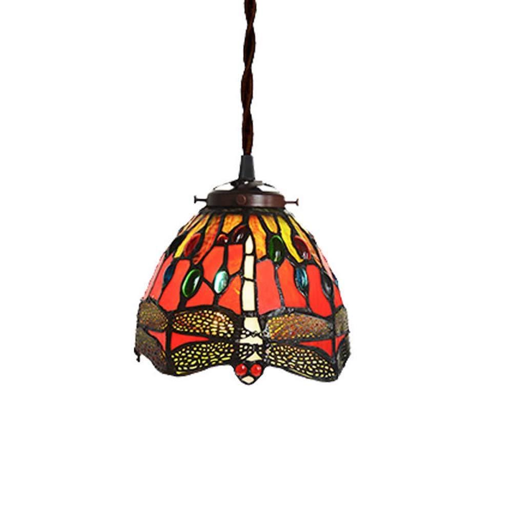 ティファニースタイルペンダントライト、7インチトンボパターン装飾ステンドグラスシャンデリア、リビングルームの寝室レストランアートペンダ B07SKRNYWG