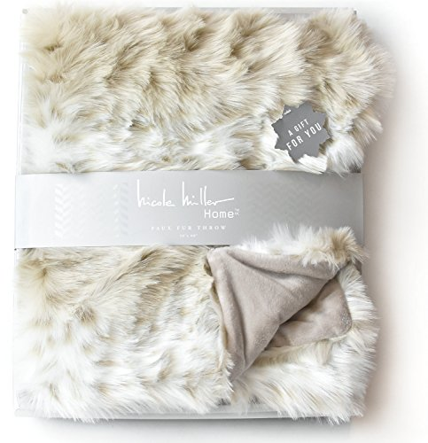 Nicole Miller Mink Faux Fur Throw, Luxury Plush Blanket in Brown Taupe or Silver Gray (Beige) ()