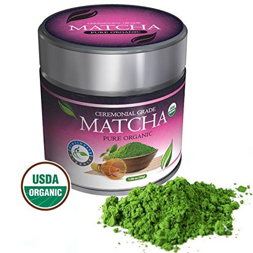 Distinctly Organic Matcha Green Tea - [USDA] Ceremonial Grade Powder - Natural Health Benefits - Free Recipe eBook
