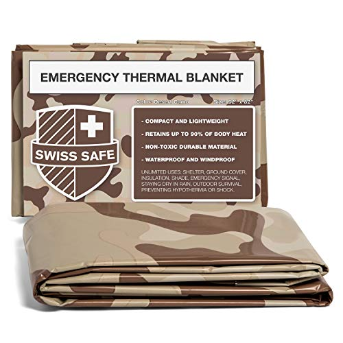 Swiss Safe Camouflage Emergency Mylar Blankets (4-Pack) - Perfect for Outdoor Camping, Hiking, Survivalist, Shelters, Preppers, Hunting, First Aid Kit