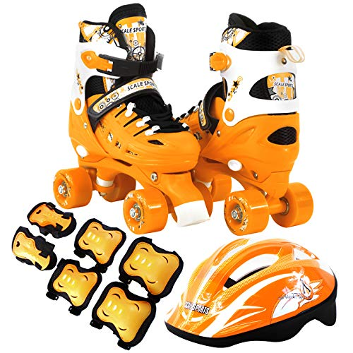 - Scale Sports Kids Quad Skates Combo Set 6 PCS Protective Gear Helmet Durable Safe Outdoor Roller Orange Size Small