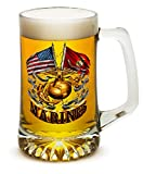 Beer Mugs with Handles – US Marine Corps Tankard Beer Mug – Double Flag Gold Globe Marine Gifts for Men or Women – Beer Glasses with Logo – Set of 6 (25 Ounces) For Sale