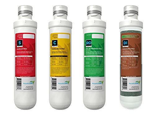 Aquatic Life TWIST-IN REPLACEMENT PACK CARTRIDGES, SEDIMENT + CARBON + 100 GPD MEMBRANE + DEIONIZATION