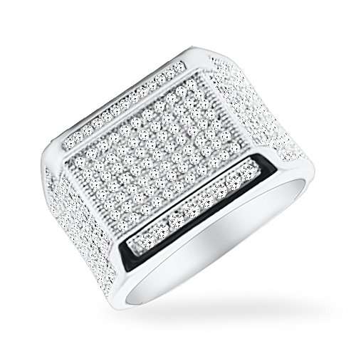 DTLA Sterling Silver Men's Micro Pave Cubic Zirconia Ring - 12