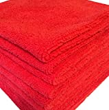 GHP 84-Pcs 16''x16'' Red 330 GSM Ultra Absorbent Microfiber Cloth Cleaning Towels