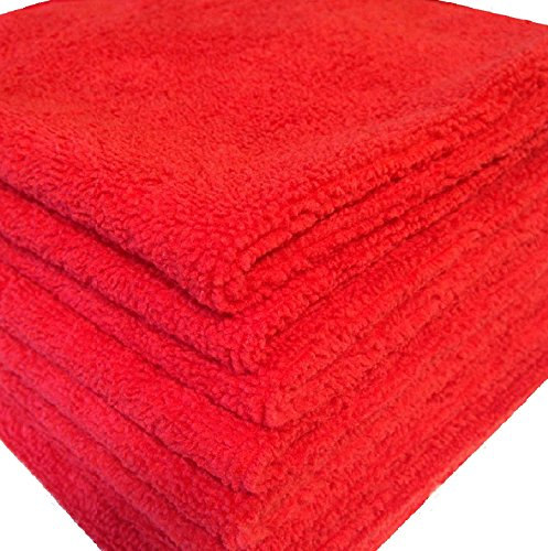 GHP 84-Pcs 16''x16'' Red 330 GSM Ultra Absorbent Microfiber Cloth Cleaning Towels by Globe House Products