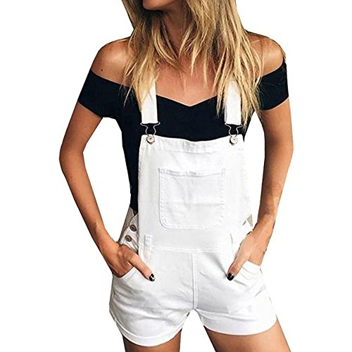 ANJUNIE Short Overalls Women Loose Denim Bib Hole Pants Jeans Demin Shorts Jumpsuit(White,L)