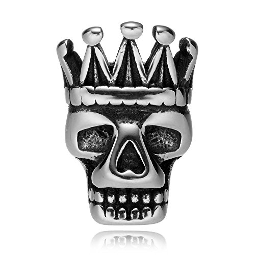 (REAMOR 5pcs 316L Stainless steel Crown Skull King 2mm Small Hole Charm Spacer Beads for Jewelry Making)