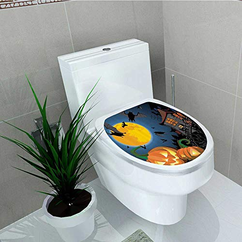 Printsonne Bathroom Toilet seat Sticker Decal Gothic e Halloween Haunted House Party Theme Trick Treat Decal Sticker Vinyl W12 x L14]()