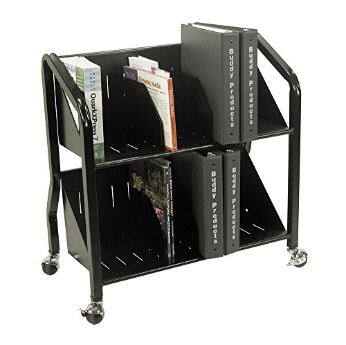 Buddy Products Two-Shelf Sloped Book Cart with Dividers, 15 x 27 x 29 Inches, Black 5413-4