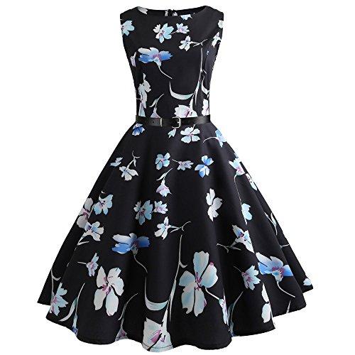 Birdfly Summer Women Floral & Pineapple Print Hepburn Style Skirt Dress with Waist Belt Plus Size 2L (S, Black(54)) from Birdfly