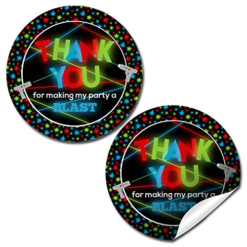 Laser Tag Birthday Party Sticker Labels, 40 2 Party Circle Stickers by AmandaCreation, Great for Party Favors, Envelope Seals & Goodie Bags