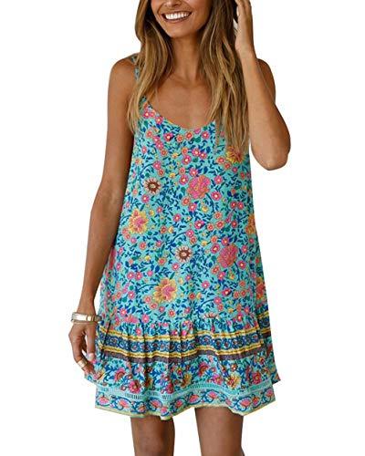 ThusFar Women's Loose Spaghetti Strap Boho Floral Print Backless Ruffle Summer Beach Party Sundress Mini Flowy Dress Green S