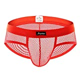 KIKOY Men's Sexy Underpants Underwear Lace Hollow outUnderwear Shorts Raised Underwear Red