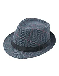 Bhwin Mens Fedora Hat Light Weight Panama Cap Winter Autumn Short Brim Jazz Hat