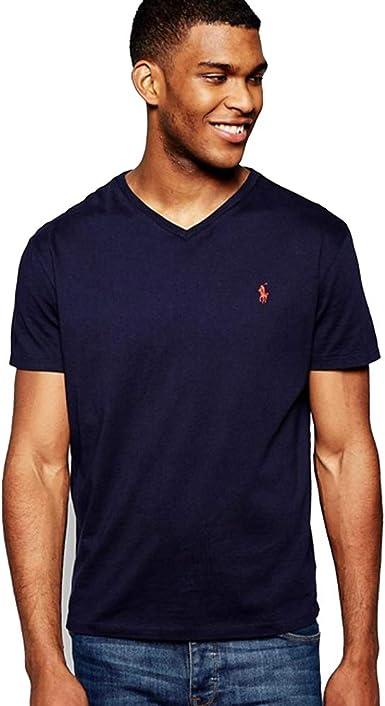 Polo Ralph Lauren Camiseta Custom Slim Fit con Cuello de Pico: Amazon.es: Ropa y accesorios