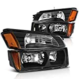 2003 avalanche headlight assembly - For 2002 2003 2004 2005 2006 Chevy Chevrolet Avalanche Headlight Assembly Headlamp with Signal Lights, Black Housing Amber Refletor,One-Year Warranty (BODY CLADDING, Driver and Passenger Side)