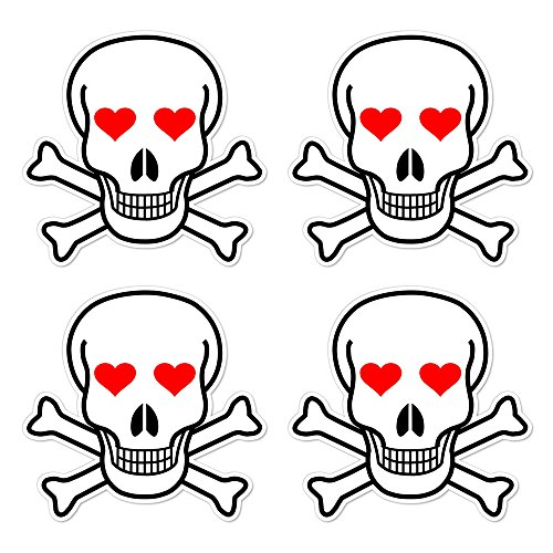 Red Bone Guitars (dealzEpic - Die Cut Skull and Crossbones Sign with Red Heart Shaped Eyes - Self Adhesive Peel and Stick Vinyl Decal/Cool Mac Sticker - 3.94 x 3.94 inches | Pack of 4 Pcs)