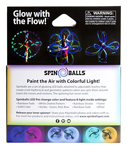 Fun In Motion - Spinballs - Flow Poi Balls - Spinning LED Light Toy - Light Up Spinners - Pair by SPIN BALLS (Image #3)