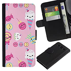 KingStore / Leather Etui en cuir / Samsung Galaxy S3 III I9300 / Rose bonbon bonbons Lollipop