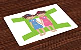 Ambesonne Zodiac Gemini Place Mats Set of 4, Green Sign Background with Twin Girl Cartoon Characters for Teens and Kids, Washable Fabric Placemats for Dining Room Kitchen Table Decor, Multicolor