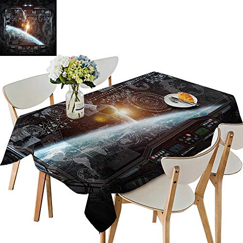 (UHOO2018 Decorative Tablecloth Square/Rectangle trol Panel Cockpit Screen in Androids World Stardust Orange Gray Assorted Size,50 x102inch)