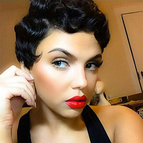 Short Black Wig Body Wave Hair Finger Wave Wig Synthetic Hair for Women Curly Cute Wig Heat Resistant Natural Hair Fashion Full Wig Cosplay Hair -