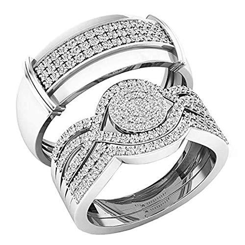 Dazzlingrock Collection 0.65 Carat (ctw) 10K Round White Diamond Men & Women's Engagement Ring Trio Set, White - Set Mans Diamond