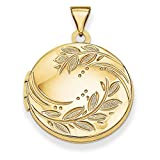 ICE CARATS 14k Yellow Gold 20mm Round Leaf Floral Photo Pendant Charm Locket Chain Necklace That Holds Pictures Shaped Fine Jewelry Gift Set For Women Heart