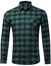 Men's Long Sleeve Plaid Regular Fit Button Shirt Flannel Casual Work Dress Shirt