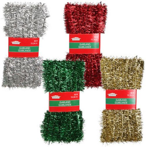Holiday Tinsel - Christmas Decor - Add Sparkle and Pizazz to All Your Holiday Festivities! 50-ft. Tinsel Garlands Assorted Among Green, Gold, Red, and Silver (Set of 4)