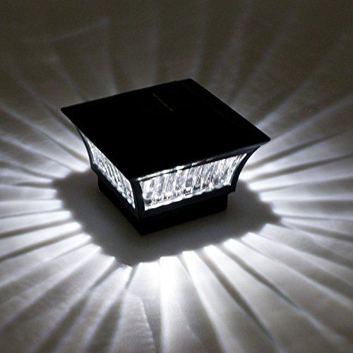 GreenLighting Aluminum Solar Post Cap Light 4x4 Wood or 5x5 PVC (Black, 4 Pack) by GreenLighting (Image #1)