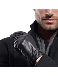 MATSU Men Winter Warm Soft Lambksin Long Fleece LIned Leather with Button Gloves M1005