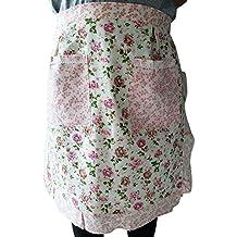 CRB Fashion Waist Apron Pocket Commercial Restaurant Waitress for Girl Woman Half Bistro Aprons (Light Pink)