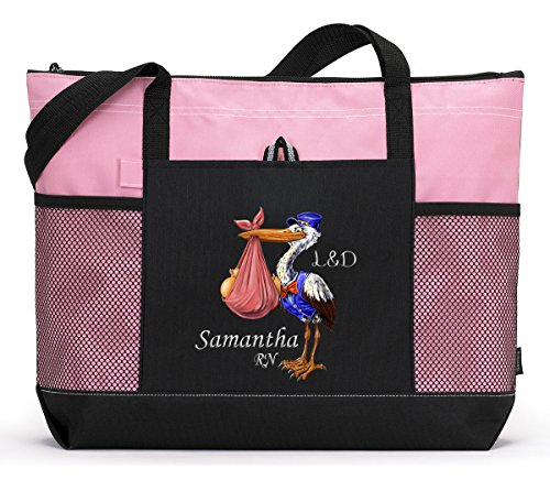Delivery Gift Stork (Labor & Delivery Stork Nurse RN Tote Bag with Mesh Pockets)